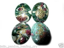 Jet Ruby Fuscite Oval Usui Reiki Healing Set Chakra Balancing Meditation Aura