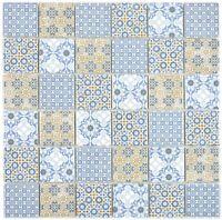 Keramik Mosaik Fliese blau orange Retro Vintage Wand Küche Bad Pool 14-1234_f