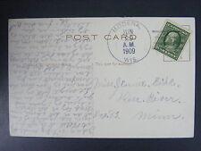 Modena Wisconsin WI 1909 4-Bar Cancel Postmark Postcard DPO 1862-1957