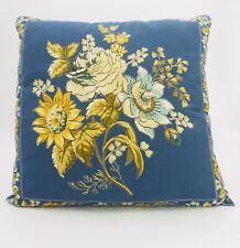 April Cornell throw pillow/cushion cover, medium blue, yellow floral