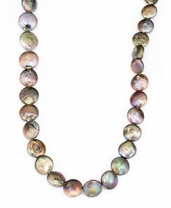 echte Perlen Kette Süßwasserzuchtperlen Halskette Scheiben 45cm braun grün