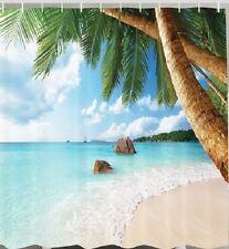 Ocean Beach Fabric SHOWER CURTAIN Island Palm Trees Sailboat Tropical Bath Decor