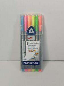 STAEDTLER TRIPLUS FINELINER NEON Set of 6 Superfine 0.3 mm 334SB6NA6 Brand NEW