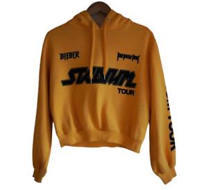 JUSTIN BIEBER Sz S Purpose Stadium Tour Yellow Hoodie Jacket