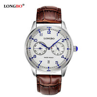 LONGBO Strap Wrist Watches Men's Sport Military Quartz Leather Watch Waterproof