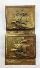 Vtg Nautical Sailing Ship & Dolphins Mail Letter Wall Holder Brass & Copper Tone