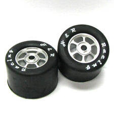 H&R Racing HR1353 6 Spoke 18mm Chrome Wheel w/ Rubber Tire (2) 1:24 Slot Car