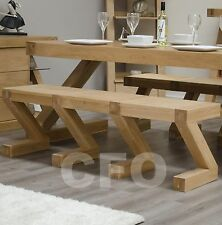 Zouk solid oak dining room furniture large seating bench