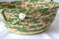 Rope Coiled Basket, Handmade Green Floral Bowl, Shabby Chic by Wexford Treasures