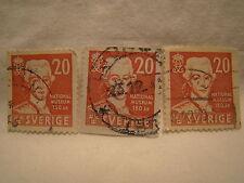 Sweden Stamp 1942 Scott 329 A68 Red 20 Museum Set of 3