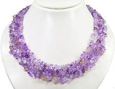 Wunderschöne Halskette aus dem Edelstein Ametrin-Splittern mehrreihig aufgezogen