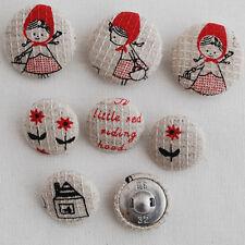 7 Japanese Cotton Linen Blend Fabric Covered Buttons - Litte Red Riding Hood