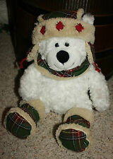 "17"" Hugfun White Teddy Bear Winter Hat Boots Scarf Plaid Holiday Plush Toy    I2"