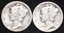 1930 P-S 2 COIN FULL SET MERCURY DIME / CIRCULATED GRADE GOOD / VERY GOOD