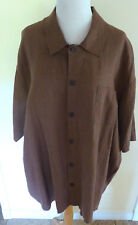 """FLAX CHOCOLATE BROWN MED. WGT LINEN BOXY OVERSIZED 56"""" B POCKET CAMP SHIRT EUC L"""