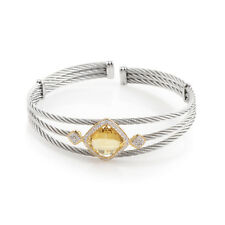 Charriol Celtic Cable 18K Stainless Steel Diamond and Yellow Citrine Bangle B
