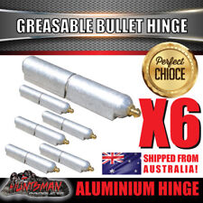x6 100mm x 16mm Aluminium Greasable Bullet Hinges S/S Pin & Washer Tailgate Door