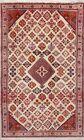 Geometric Ivory Meymeh Oriental Area Rug Hand-Knotted Living Room Carpet 4x7