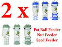 2 x Wild Bird Feeder Deluxe Hanging Bird Seed Nut Fat Ball Peanut feeding Garden