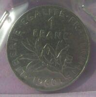 1 franc Semeuse 1960 grand 0 : TB : pièce de monnaie française N7