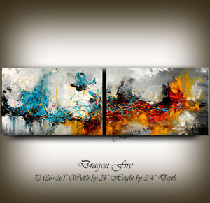 Extra Large Wall Art Abstract Acrylic Painting Office Contemporary Art - Nandita