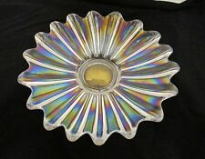 Vintage Carnival Glass Plate Scallop Celestial Starburst Mid Century Iridescent