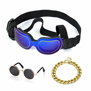 3Pcs/Set Small Dog Goggles Sunglasses Bracelet for Pet Puppy Cat Eye Protection