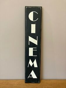 CINEMA Sign Vintage Old Antique Style Wooden Home cinema tv room gift verticle