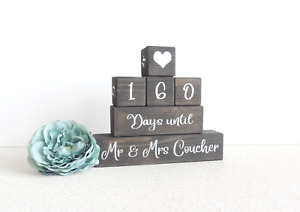 personalised wedding countdown, black and silver, wedding days, days until, wood
