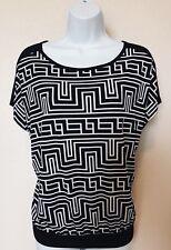 Chicos Black White Geometric Pattern Dolman Style Stretch Top Size 1