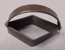 "Cookie Cutter Diamond, Tin, Strap Handle, 3.75""x 2"", 2.75"" Tall Vintage"
