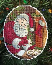 Handmade Cross Stitch Christmas Ornament-Completed-Vintage Santa Claus-Cookies
