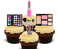 Make-Up Cosmetics Edible Cup Cake Toppers, Standup Bun Fairy Decorations Female