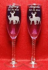 Engraved Double Deer set Toasting Champagne Wedding Flutes toasting glasses