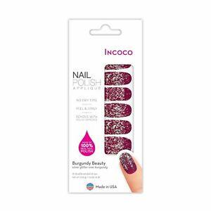 INCOCO-BURGUNDY BEAUTY-Deep Red w/ Silver Glitter Holiday Nail polish Strips