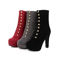 Rivets Studded Womens Ankle Boots Platform High Block Heels Suede Casual Shoes