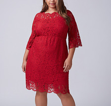 LANE BRYANT WOMEN'S RED SCALLOP EDGE FIT & FLARE LINED LACE DRESS PLUS Sz 18