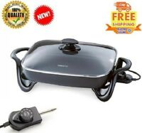 Large Deluxe Nonstick Electric Skillet Frying Fry Pan Glass Lid Buffet Server