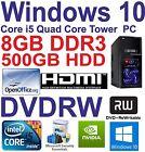 .Windows 10 Core i5 Quad Core HDMI Gaming Tower PC 8GB DDR3 - 500GB HDD DVDRW
