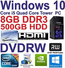 . Windows 10 Core i5 Quad Core HDMI Gaming Tower PC 8GB DDR3 - 500GB HDD DVD-RW