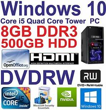 . Windows 10 CORE i5 QUAD CORE HDMI Gaming Tower PC 8 Go DDR3 - 500 Go HDD DVDRW