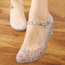 Women Ankle Strap Buckle Pumps Jelly Wedge Heels Sandal Princess Shoes Casual