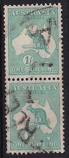 1916 Roo / Kangaroo 1/- Shilling Green 3rd Wmk Vertical Pair Parcel Mail Frank