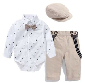 Baby Elegant Beige Hemd Taufe hochzeit Hose Body Mütze Set Anzug Junge 3 Monate