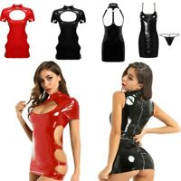 2Color Sexy Women Mini Dress Leather Hollow Out Bodycon Lingerie Party Clubwear