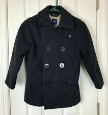 Gap Kids Girl's Pea Coat Small 6-7 Wool Blend Double Button Black Holiday 09 EUC