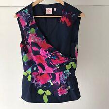 Leona Edmiston Cotton Blend Floral Wrap Sleeveless Blouse / Top, Size 8