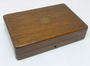 Vintage Oak Small Cutlery Box with Brass Inlaid Cartouche
