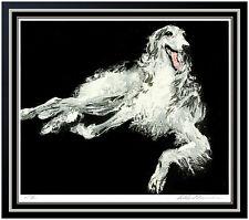 LeRoy Neiman Borzoi Dog Color Serigraph Hand Signed Large Animal Artwork Framed