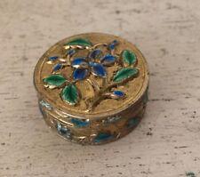 Vintage Antique CHINESE REPOUSSE CLOISONNE ENAMEL SNUFF PILL BOX Gold Brass